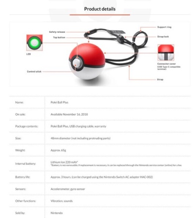 POKEMON_LETS GO_PIKACHU & EEVEE_POKE BALL PLUS_ESPECIFICACIONES
