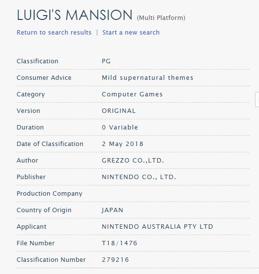 LUIGIS MANSION_CLASIFICACION AUSTRALIANA_N3DS