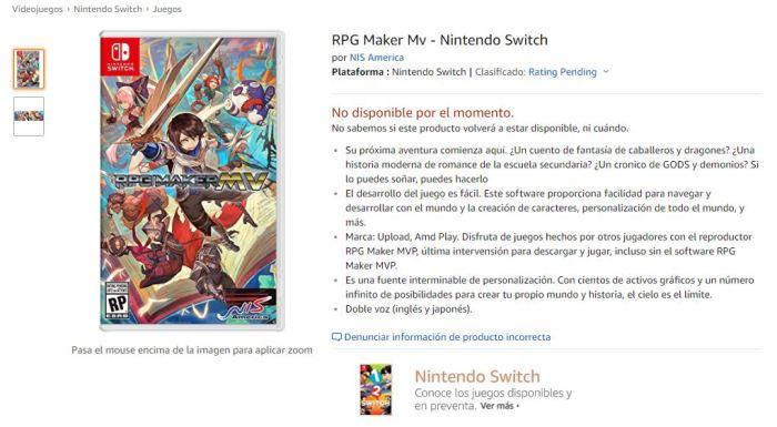 Amazon Mexico Lista Rpg Maker Mv Para Nintendo Switch Nintheorist