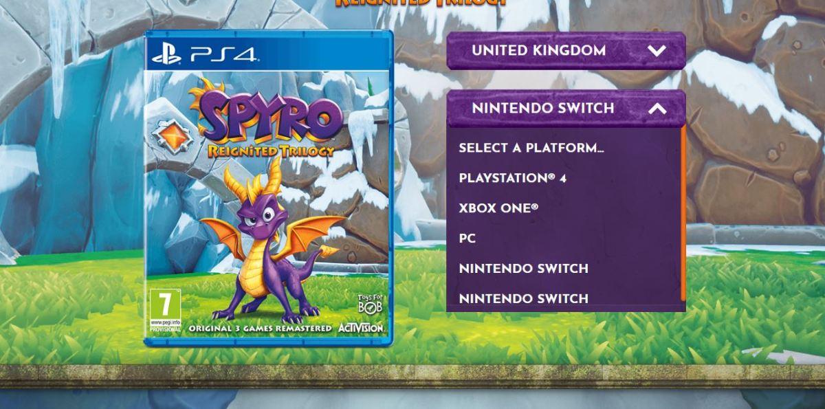 El Sitio Oficial de Spyro: Reignited Trilogy lista una versión de Nintendo Switch.